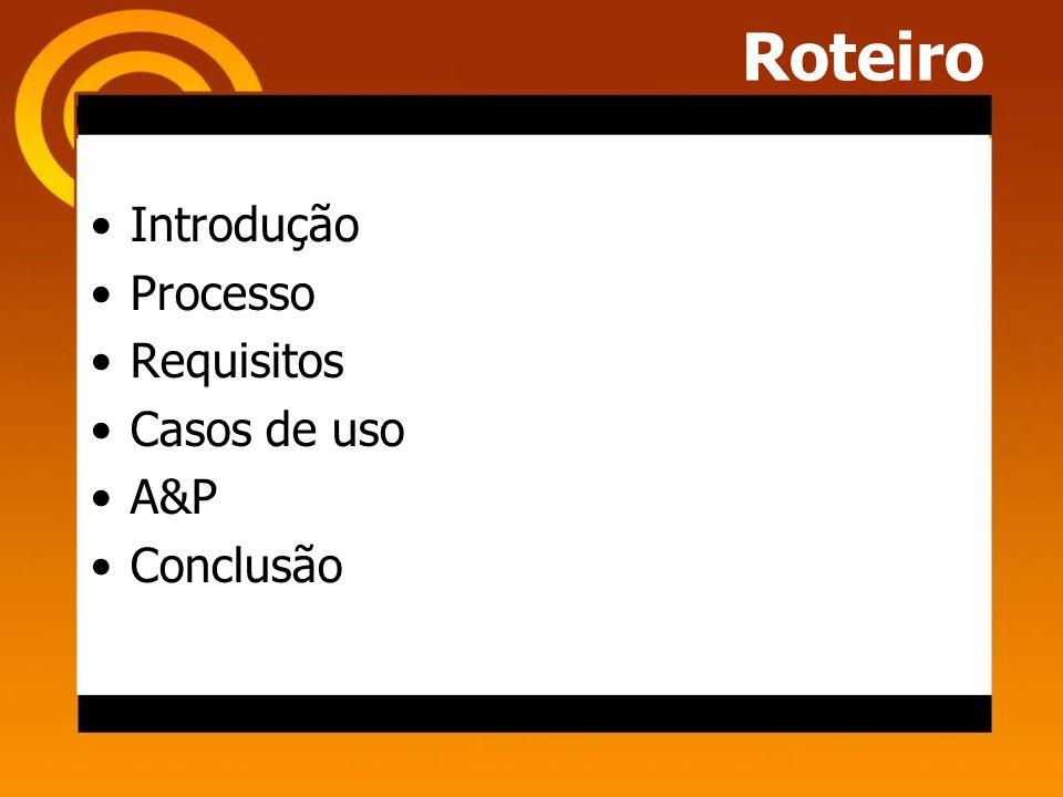 Roteiro Introdução Processo Requisitos Casos de uso A&P Conclusão