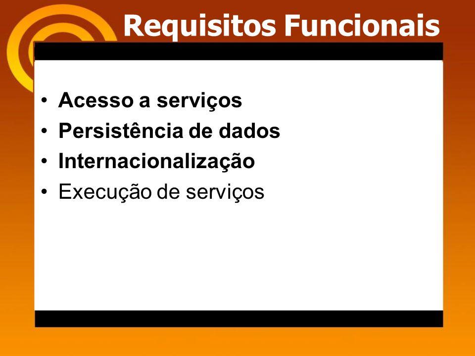 Requisitos Funcionais Acesso a serviços Persistência de dados Internacionalização Execução de serviços