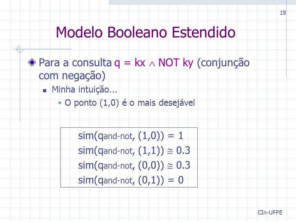 CIn-UFPE 19 Modelo Booleano Estendido Para a consulta q = kx  NOT ky (conjunção com negação) Minha intuição...  O ponto (1,0) é o mais desejável sim
