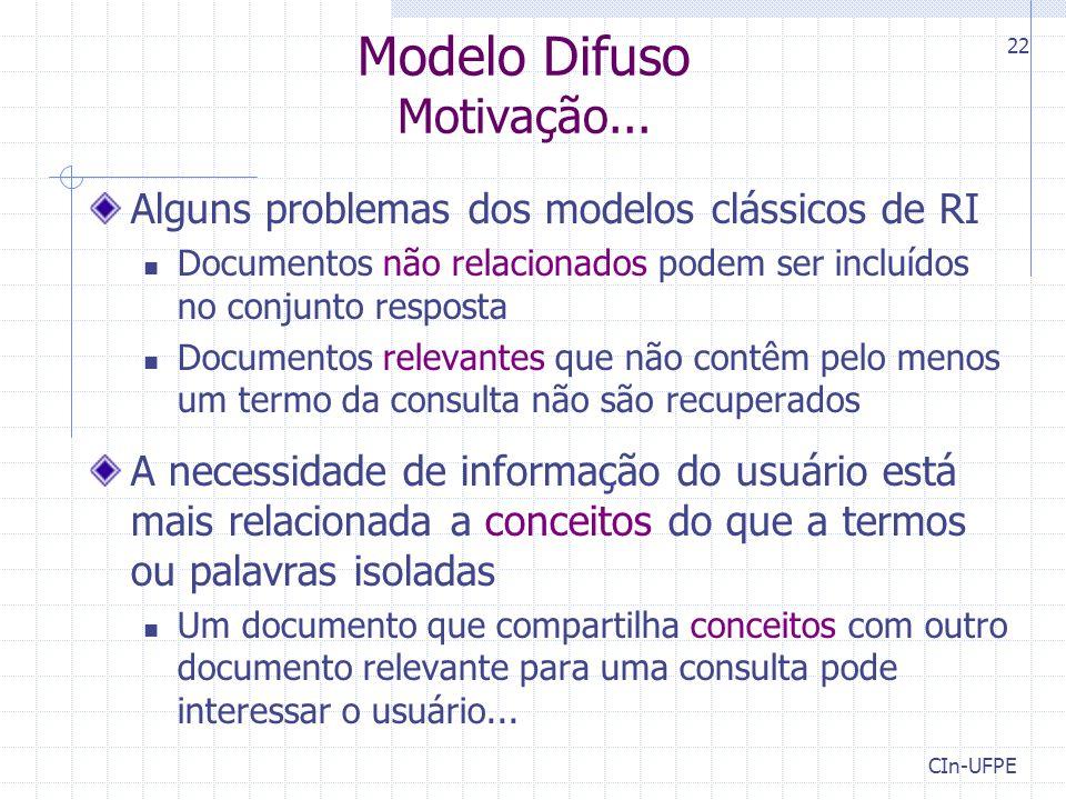 CIn-UFPE 22 Modelo Difuso Motivação... Alguns problemas dos modelos clássicos de RI Documentos não relacionados podem ser incluídos no conjunto respos