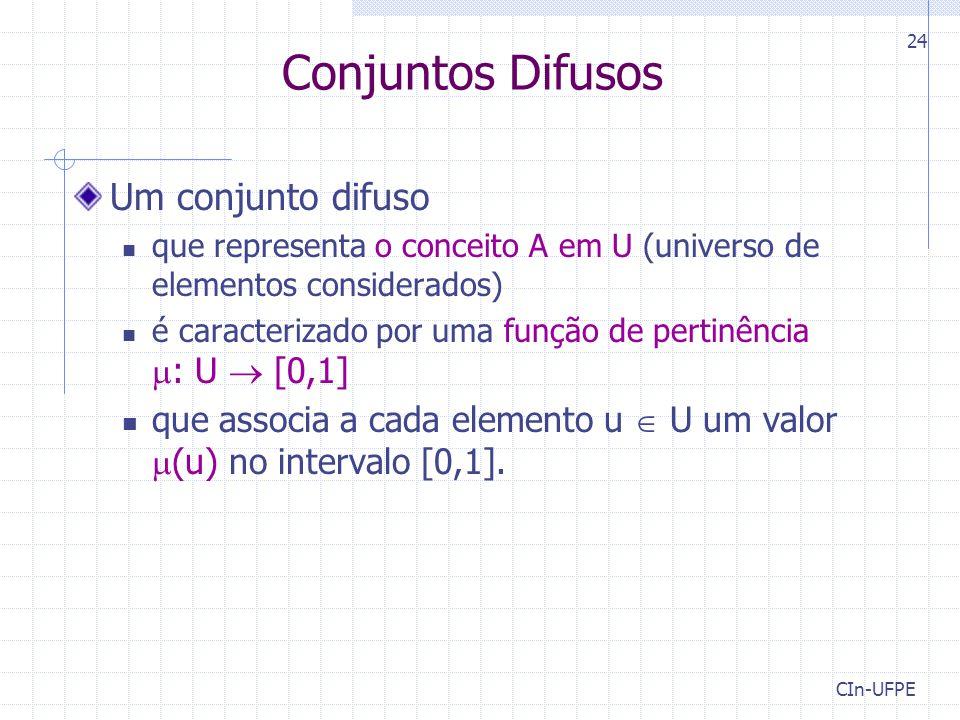 CIn-UFPE 24 Conjuntos Difusos Um conjunto difuso que representa o conceito A em U (universo de elementos considerados) é caracterizado por uma função de pertinência  : U  [0,1] que associa a cada elemento u  U um valor  (u) no intervalo [0,1].