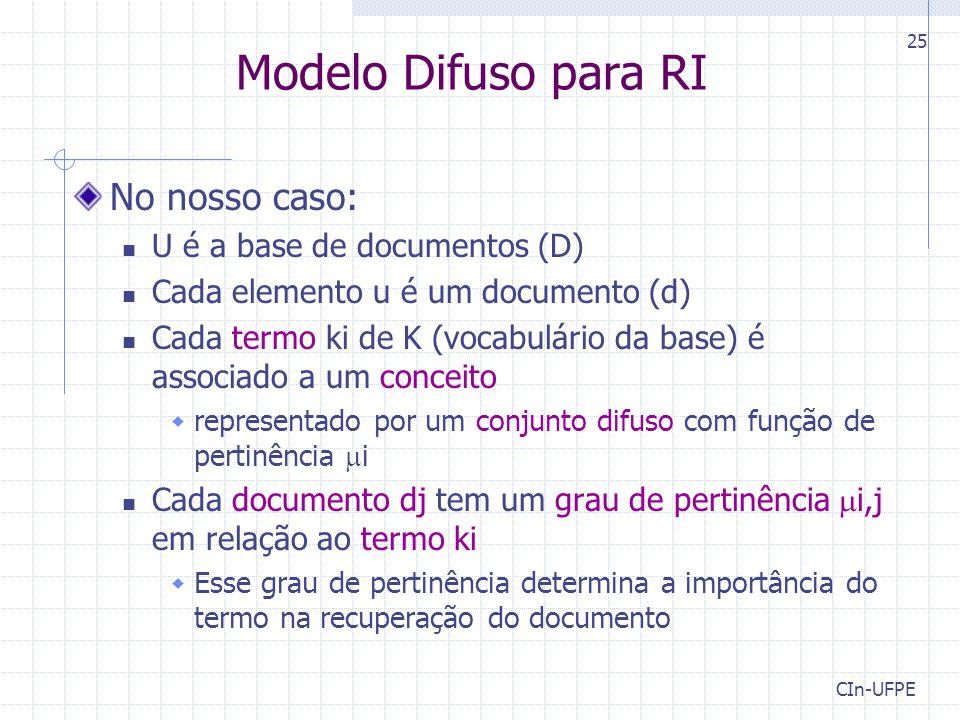 CIn-UFPE 25 Modelo Difuso para RI No nosso caso: U é a base de documentos (D) Cada elemento u é um documento (d) Cada termo ki de K (vocabulário da base) é associado a um conceito  representado por um conjunto difuso com função de pertinência  i Cada documento dj tem um grau de pertinência  i,j em relação ao termo ki  Esse grau de pertinência determina a importância do termo na recuperação do documento