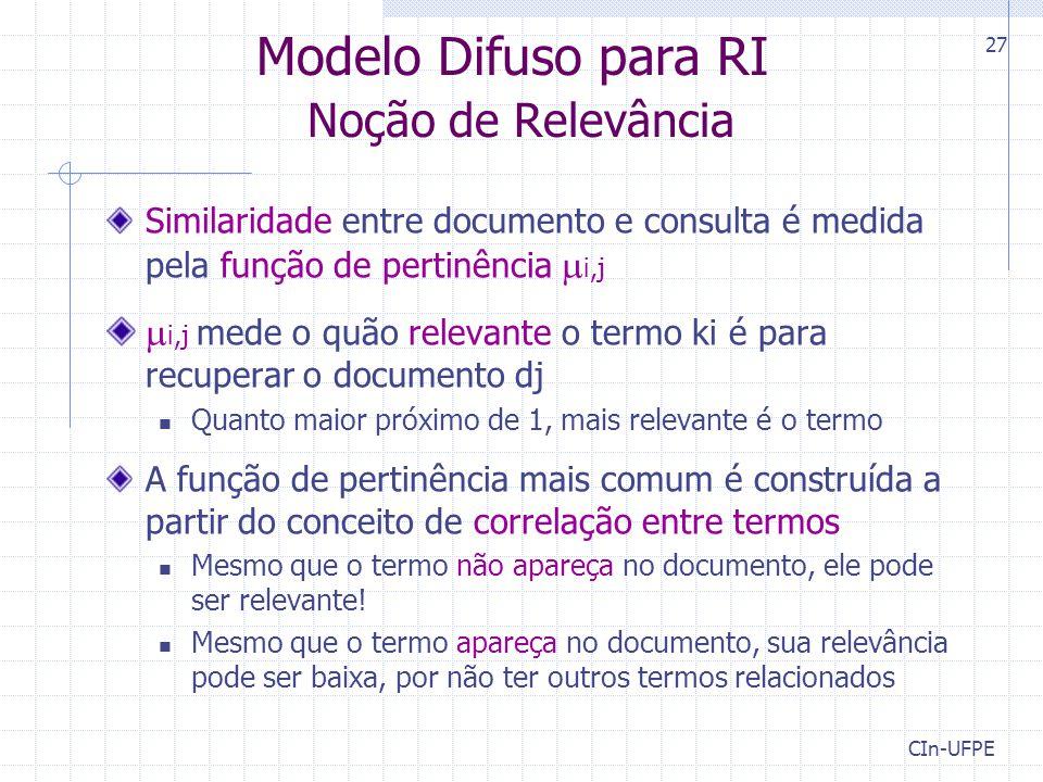 CIn-UFPE 27 Modelo Difuso para RI Noção de Relevância Similaridade entre documento e consulta é medida pela função de pertinência  i,j  i,j mede o q