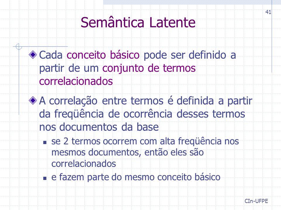 CIn-UFPE 41 Semântica Latente Cada conceito básico pode ser definido a partir de um conjunto de termos correlacionados A correlação entre termos é definida a partir da freqüência de ocorrência desses termos nos documentos da base se 2 termos ocorrem com alta freqüência nos mesmos documentos, então eles são correlacionados e fazem parte do mesmo conceito básico