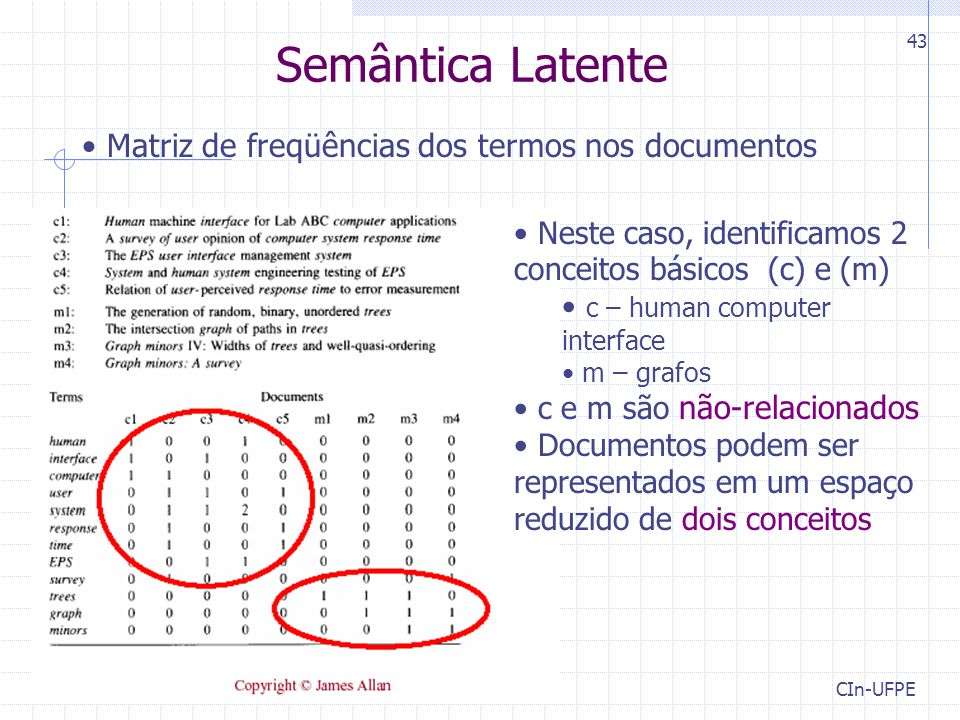CIn-UFPE 43 Semântica Latente Matriz de freqüências dos termos nos documentos Neste caso, identificamos 2 conceitos básicos (c) e (m) c – human computer interface m – grafos c e m são não-relacionados Documentos podem ser representados em um espaço reduzido de dois conceitos