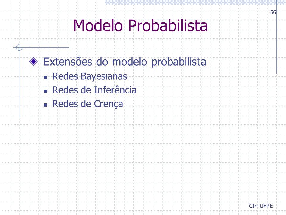 CIn-UFPE 66 Extensões do modelo probabilista Redes Bayesianas Redes de Inferência Redes de Crença Modelo Probabilista