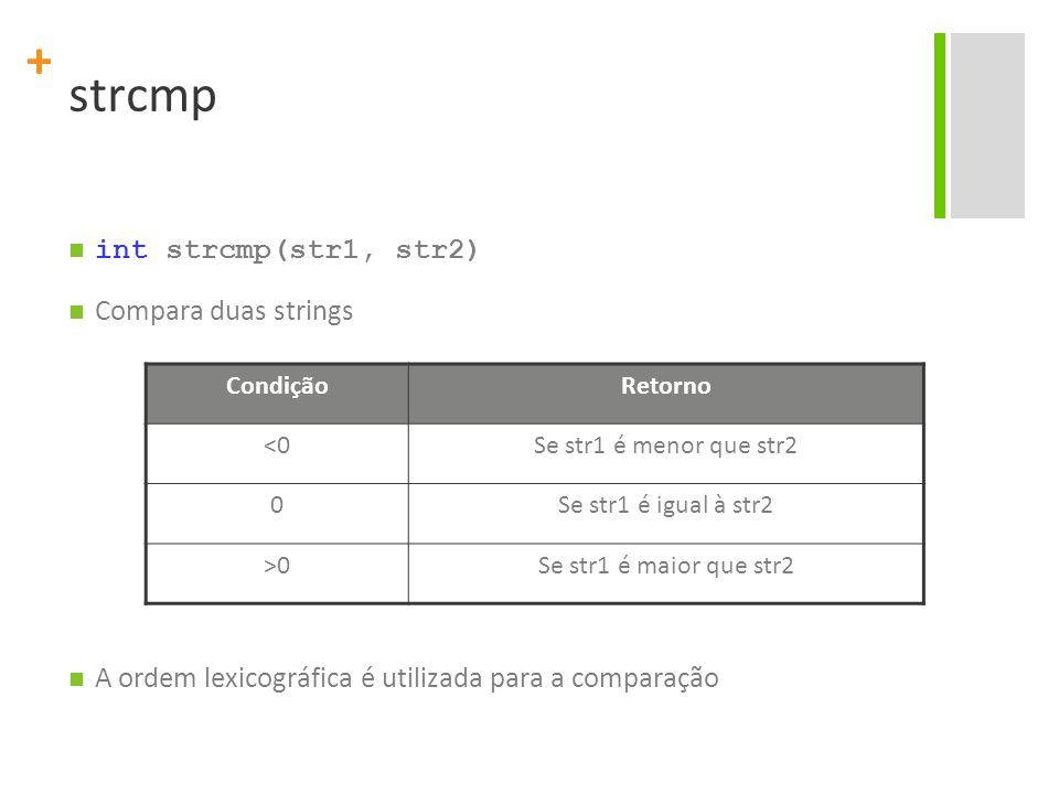 + strcmp int strcmp(str1, str2) Compara duas strings A ordem lexicográfica é utilizada para a comparação CondiçãoRetorno <0Se str1 é menor que str2 0S