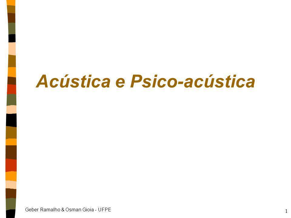 Geber Ramalho & Osman Gioia - UFPE 2 Acústica nAcústica parte da física que estuda os sons, sua geração e sua interação com o ambiente nConceitos básicos absorção e reflexão reverberação eco ressonância modos de sala isolamento etc.