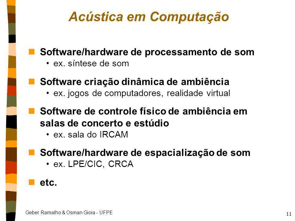 Geber Ramalho & Osman Gioia - UFPE 11 Acústica em Computação nSoftware/hardware de processamento de som ex. síntese de som nSoftware criação dinâmica
