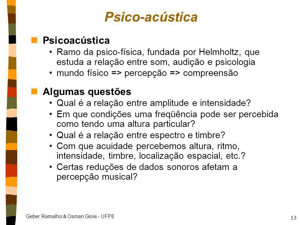 Geber Ramalho & Osman Gioia - UFPE 13 Psico-acústica nPsicoacústica Ramo da psico-física, fundada por Helmholtz, que estuda a relação entre som, audiç