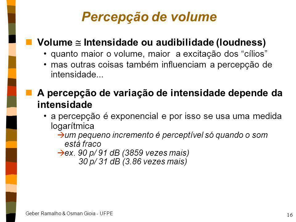 Geber Ramalho & Osman Gioia - UFPE 16 Percepção de volume nVolume  Intensidade ou audibilidade (loudness) quanto maior o volume, maior a excitação do
