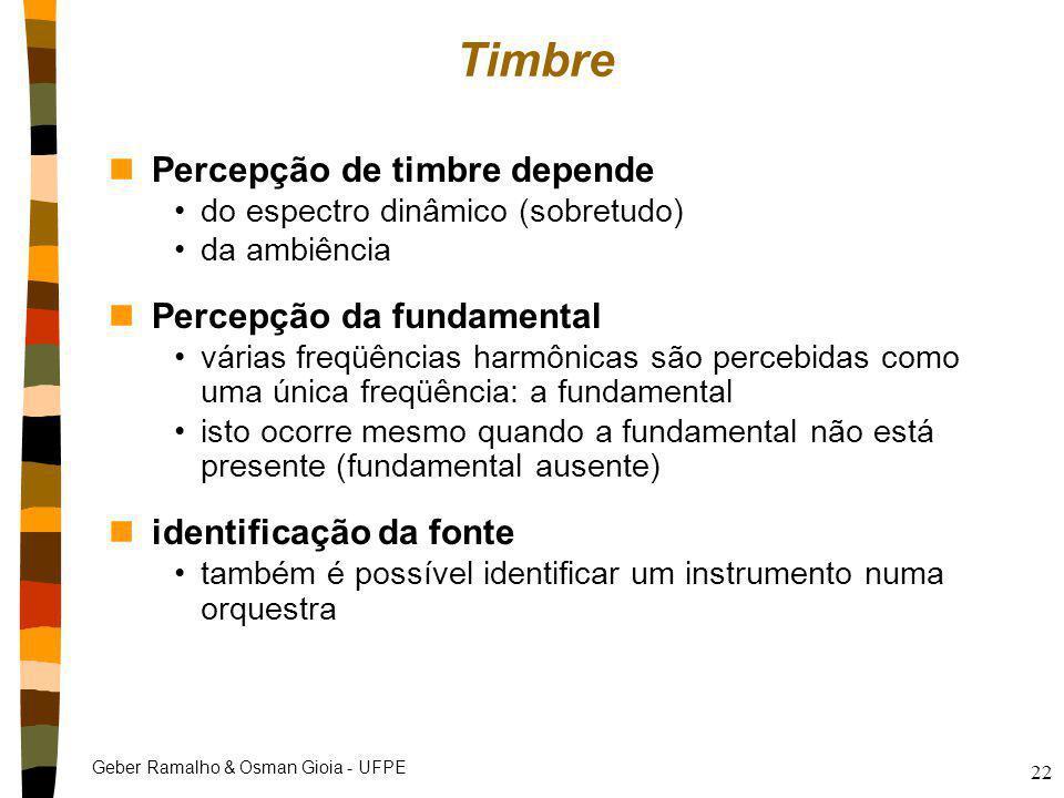 Geber Ramalho & Osman Gioia - UFPE 22 Timbre nPercepção de timbre depende do espectro dinâmico (sobretudo) da ambiência nPercepção da fundamental vári