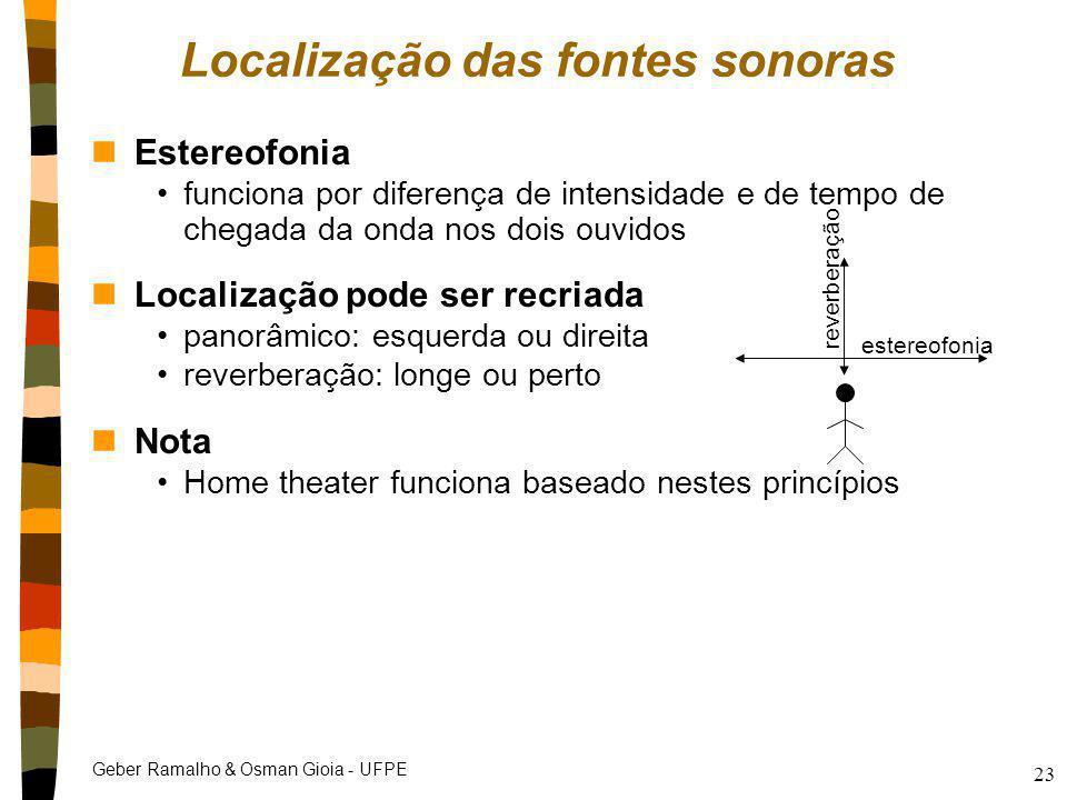 Geber Ramalho & Osman Gioia - UFPE 23 Localização das fontes sonoras nEstereofonia funciona por diferença de intensidade e de tempo de chegada da onda
