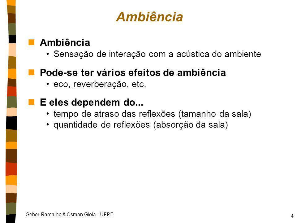 Geber Ramalho & Osman Gioia - UFPE 4 Ambiência nAmbiência Sensação de interação com a acústica do ambiente nPode-se ter vários efeitos de ambiência ec