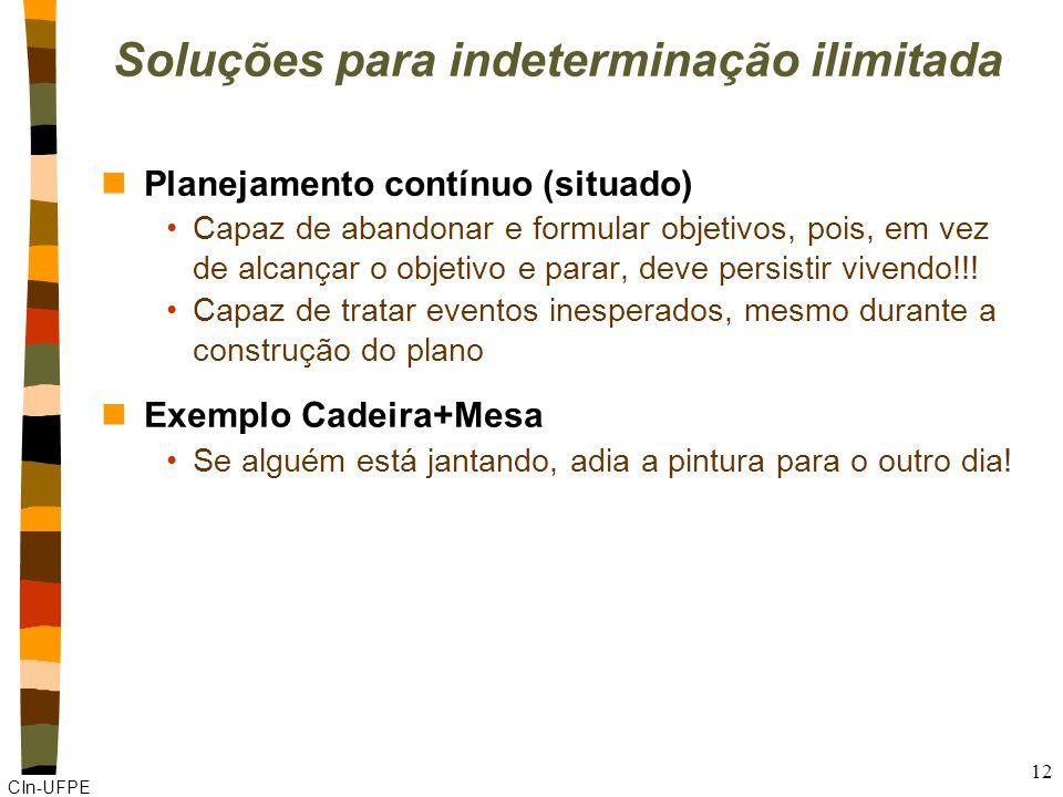 CIn-UFPE 12 Soluções para indeterminação ilimitada nPlanejamento contínuo (situado) Capaz de abandonar e formular objetivos, pois, em vez de alcançar