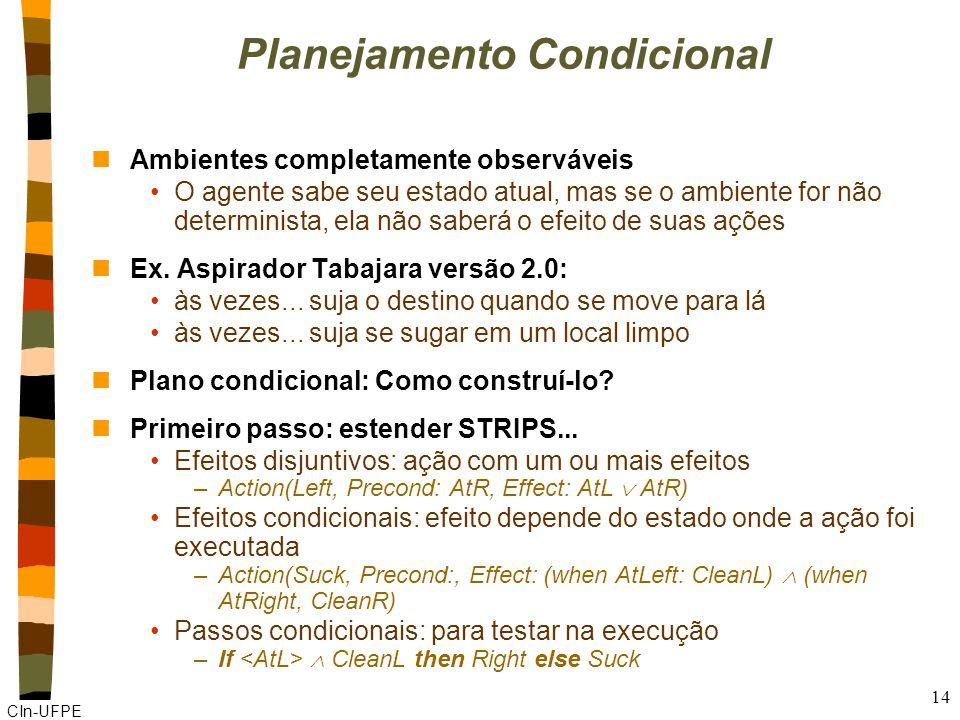 CIn-UFPE 14 Planejamento Condicional nAmbientes completamente observáveis O agente sabe seu estado atual, mas se o ambiente for não determinista, ela não saberá o efeito de suas ações nEx.