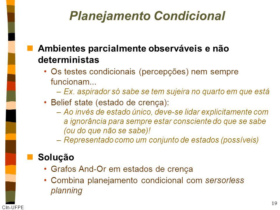 CIn-UFPE 19 Planejamento Condicional nAmbientes parcialmente observáveis e não deterministas Os testes condicionais (percepções) nem sempre funcionam.