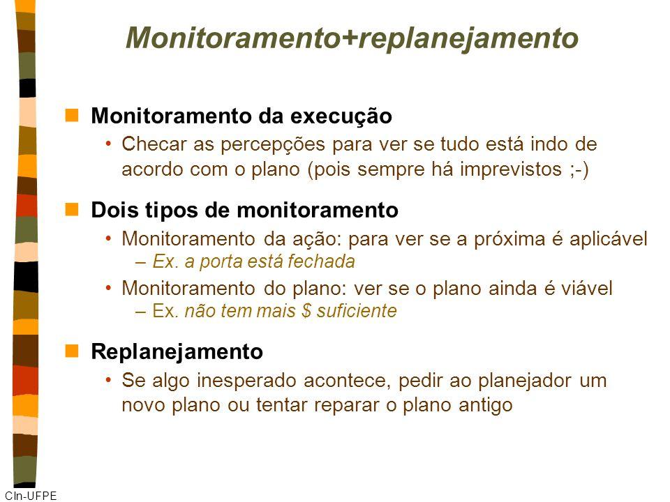 CIn-UFPE Monitoramento+replanejamento nMonitoramento da execução Checar as percepções para ver se tudo está indo de acordo com o plano (pois sempre há imprevistos ;-) nDois tipos de monitoramento Monitoramento da ação: para ver se a próxima é aplicável –Ex.