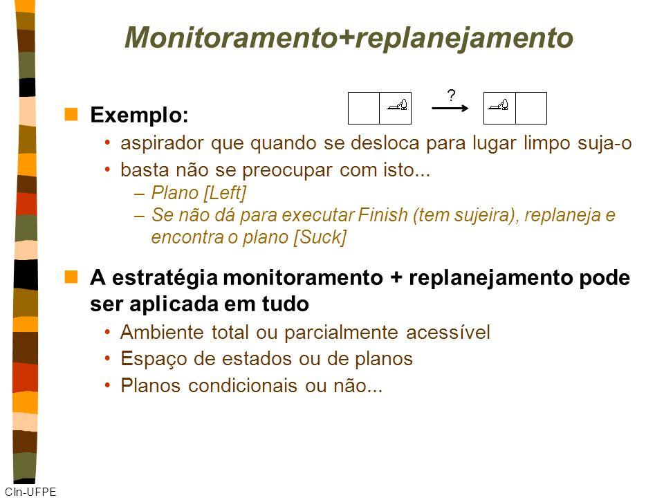 CIn-UFPE Monitoramento+replanejamento nExemplo: aspirador que quando se desloca para lugar limpo suja-o basta não se preocupar com isto...