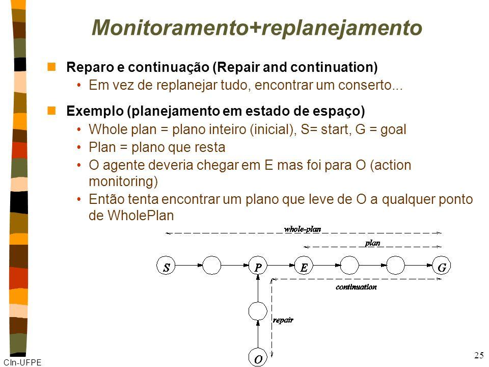 CIn-UFPE 25 Monitoramento+replanejamento nReparo e continuação (Repair and continuation) Em vez de replanejar tudo, encontrar um conserto... nExemplo