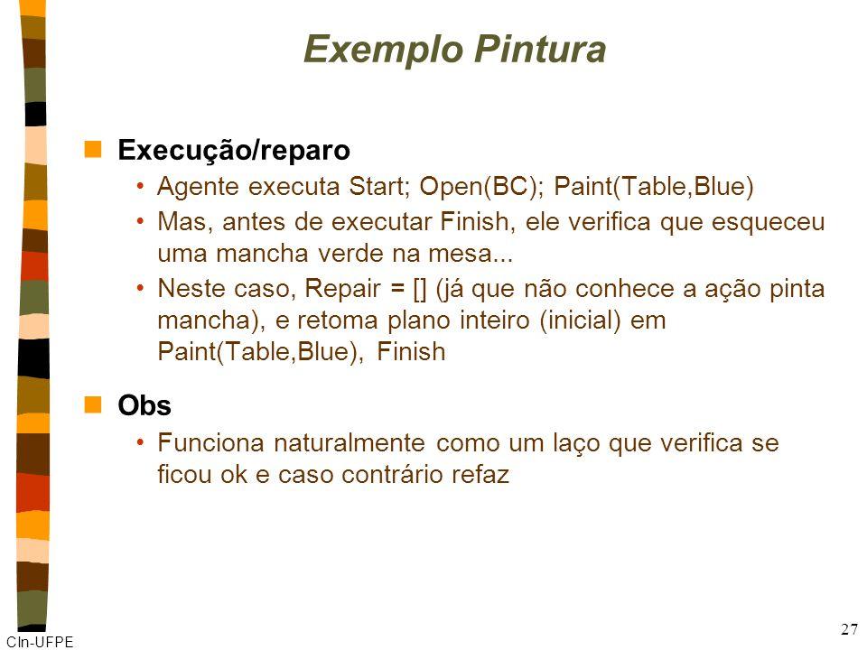 CIn-UFPE 27 Exemplo Pintura nExecução/reparo Agente executa Start; Open(BC); Paint(Table,Blue) Mas, antes de executar Finish, ele verifica que esquece