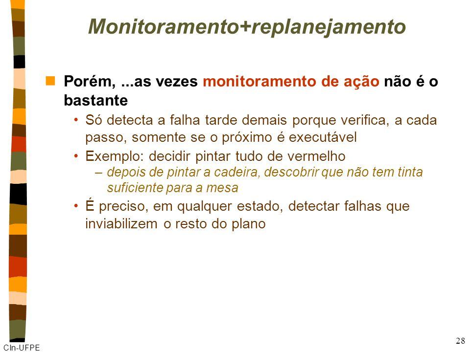 CIn-UFPE 28 Monitoramento+replanejamento nPorém,...as vezes monitoramento de ação não é o bastante Só detecta a falha tarde demais porque verifica, a