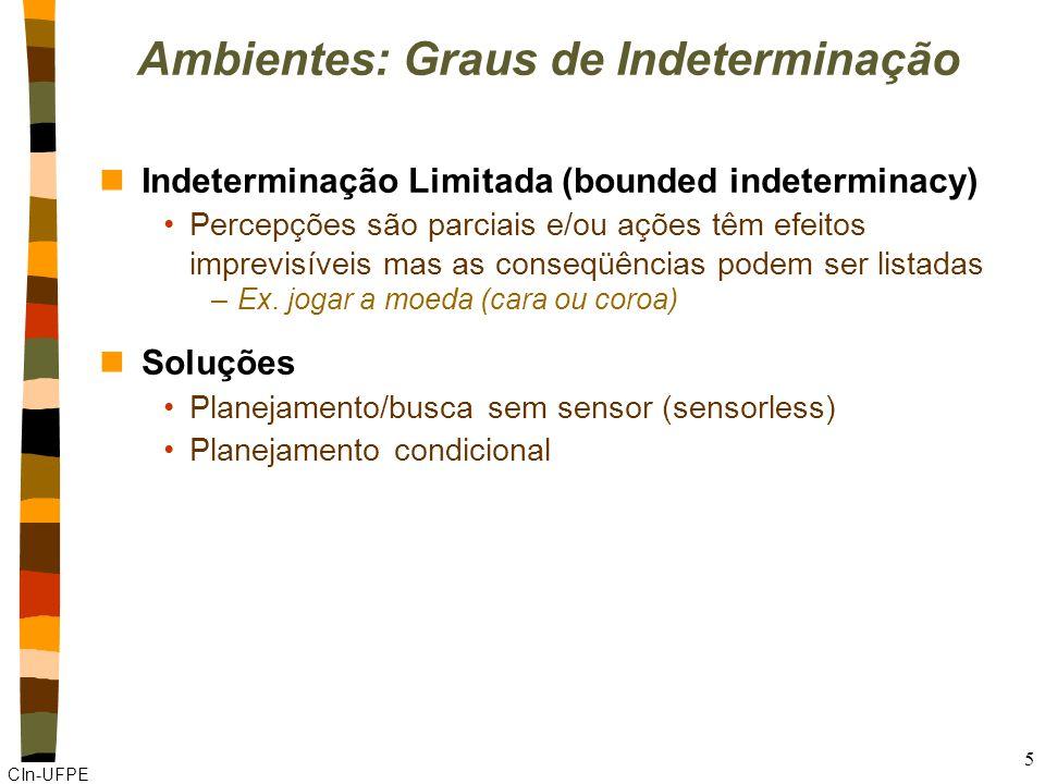 CIn-UFPE 5 Ambientes: Graus de Indeterminação nIndeterminação Limitada (bounded indeterminacy) Percepções são parciais e/ou ações têm efeitos imprevisíveis mas as conseqüências podem ser listadas –Ex.