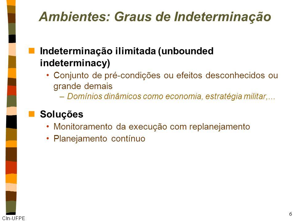CIn-UFPE 6 Ambientes: Graus de Indeterminação nIndeterminação ilimitada (unbounded indeterminacy) Conjunto de pré-condições ou efeitos desconhecidos o
