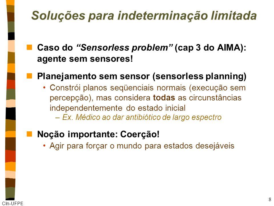 """CIn-UFPE 8 Soluções para indeterminação limitada nCaso do """"Sensorless problem"""" (cap 3 do AIMA): agente sem sensores! nPlanejamento sem sensor (sensorl"""