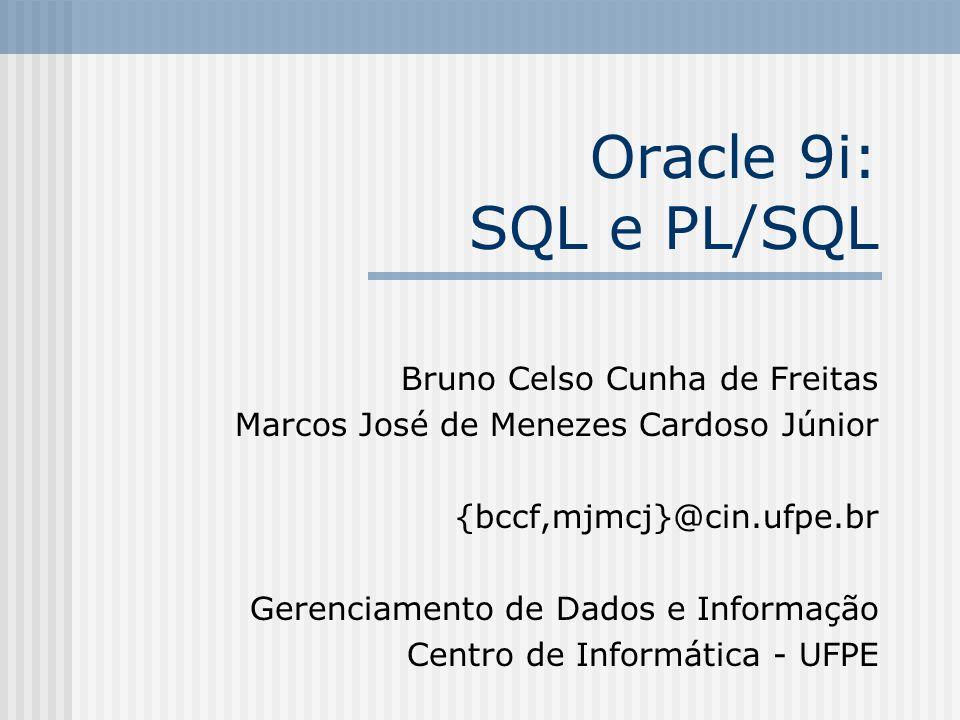 Oracle 9i: SQL e PL/SQL Bruno Celso Cunha de Freitas Marcos José de Menezes Cardoso Júnior {bccf,mjmcj}@cin.ufpe.br Gerenciamento de Dados e Informação Centro de Informática - UFPE