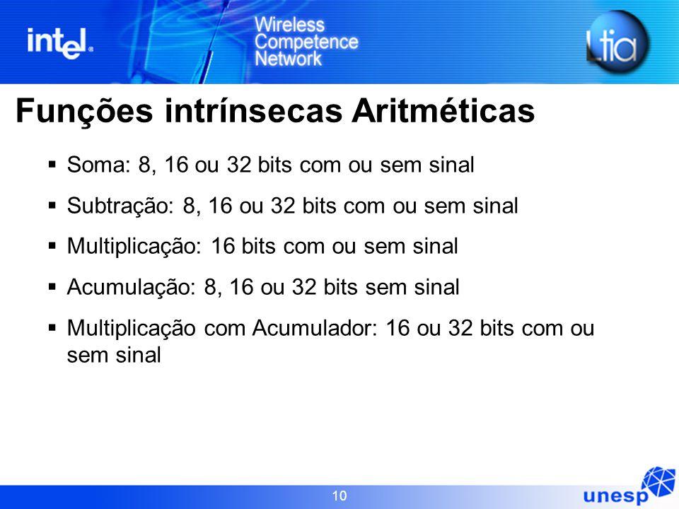 10 Funções intrínsecas Aritméticas  Soma: 8, 16 ou 32 bits com ou sem sinal  Subtração: 8, 16 ou 32 bits com ou sem sinal  Multiplicação: 16 bits c