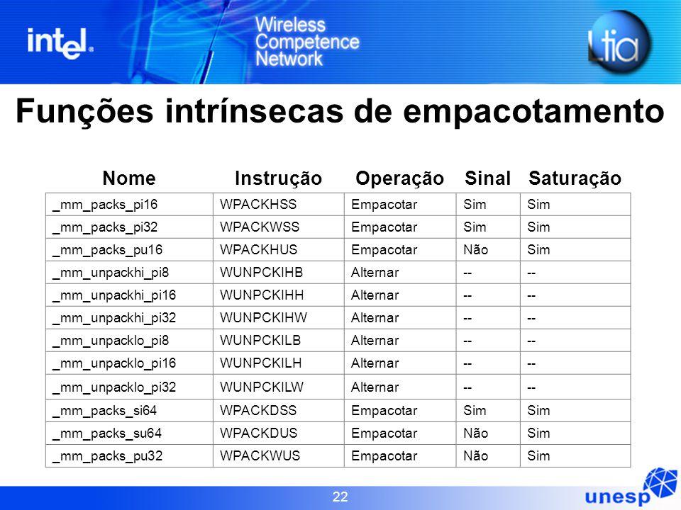 22 Funções intrínsecas de empacotamento NomeInstruçãoOperaçãoSinalSaturação _mm_packs_pi16WPACKHSSEmpacotarSim _mm_packs_pi32WPACKWSSEmpacotarSim _mm_