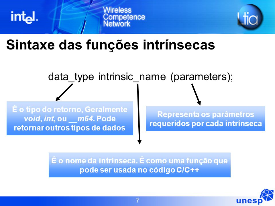 7 Sintaxe das funções intrínsecas data_type intrinsic_name (parameters); É o tipo do retorno, Geralmente void, int, ou __m64. Pode retornar outros tip