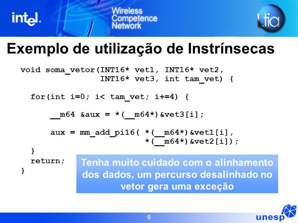 9 Exemplo de utilização de Instrínsecas void soma_vetor(INT16* vet1, INT16* vet2, INT16* vet3, int tam_vet) { for(int i=0; i< tam_vet; i+=4) { __m64 &