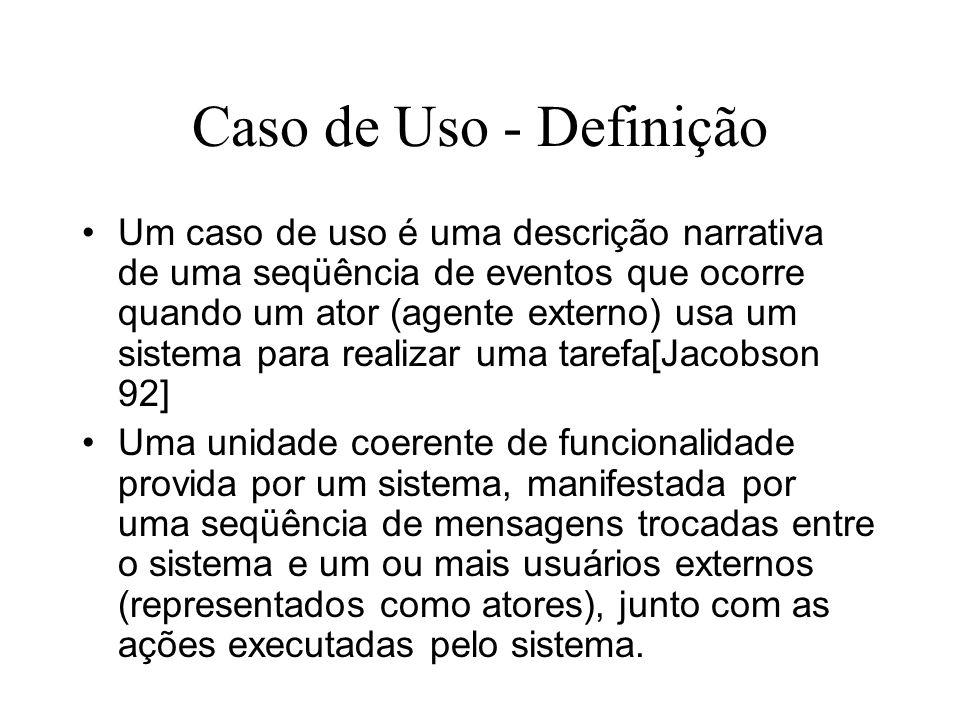 Caso de Uso - Definição Um caso de uso é uma descrição narrativa de uma seqüência de eventos que ocorre quando um ator (agente externo) usa um sistema