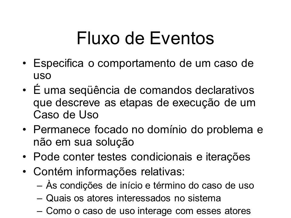 Fluxo de Eventos Especifica o comportamento de um caso de uso É uma seqüência de comandos declarativos que descreve as etapas de execução de um Caso d