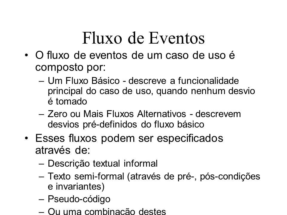 Fluxo de Eventos O fluxo de eventos de um caso de uso é composto por: –Um Fluxo Básico - descreve a funcionalidade principal do caso de uso, quando ne
