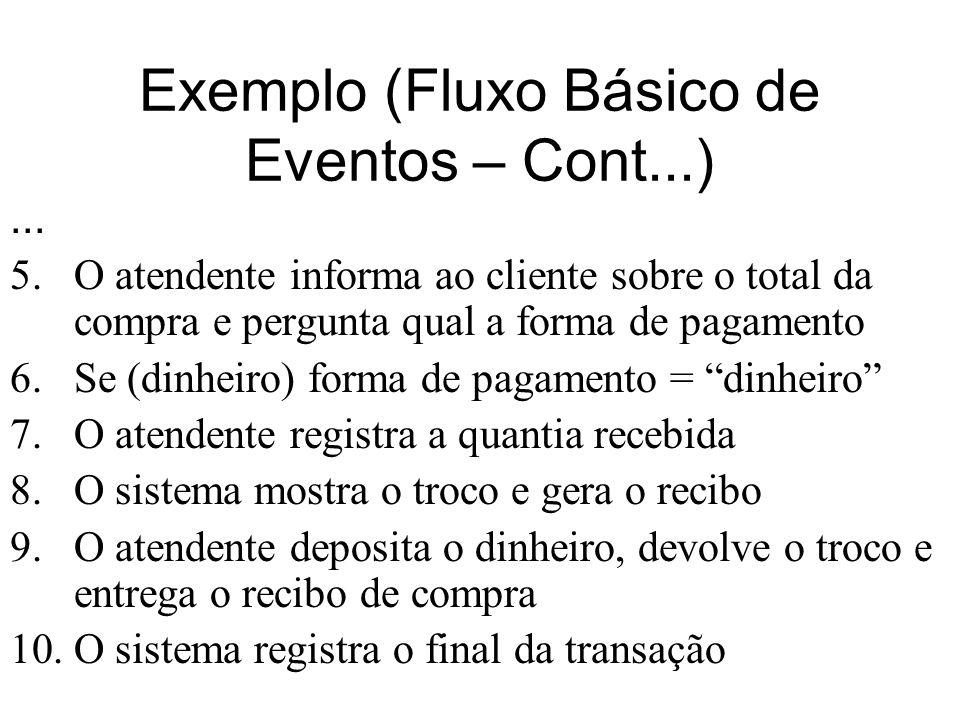 Exemplo (Fluxo Básico de Eventos – Cont...)... 5.O atendente informa ao cliente sobre o total da compra e pergunta qual a forma de pagamento 6.Se (din