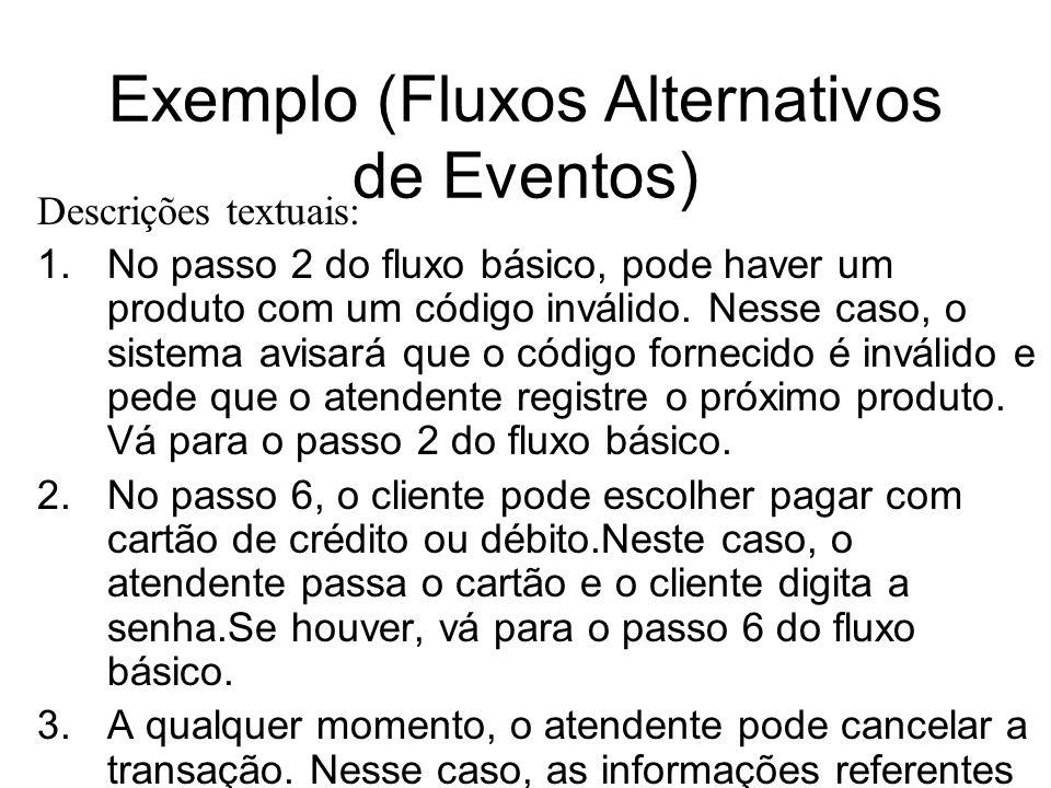 Exemplo (Fluxos Alternativos de Eventos) Descrições textuais: 1.No passo 2 do fluxo básico, pode haver um produto com um código inválido. Nesse caso,