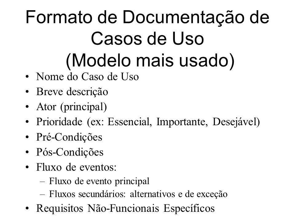 Formato de Documentação de Casos de Uso (Modelo mais usado) Nome do Caso de Uso Breve descrição Ator (principal) Prioridade (ex: Essencial, Importante