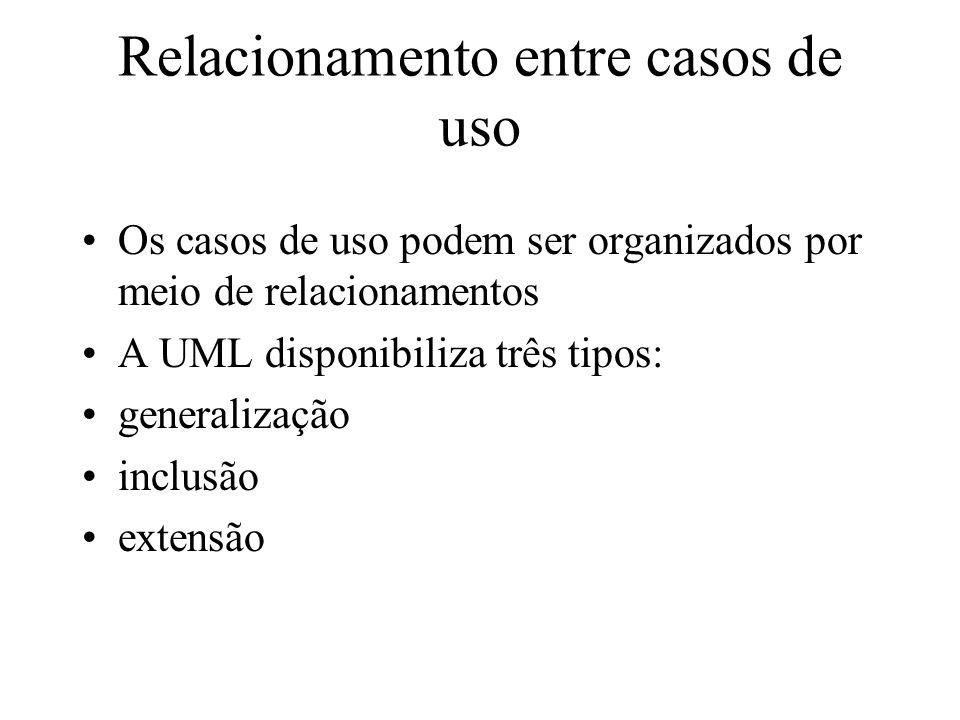 Relacionamento entre casos de uso Os casos de uso podem ser organizados por meio de relacionamentos A UML disponibiliza três tipos: generalização incl