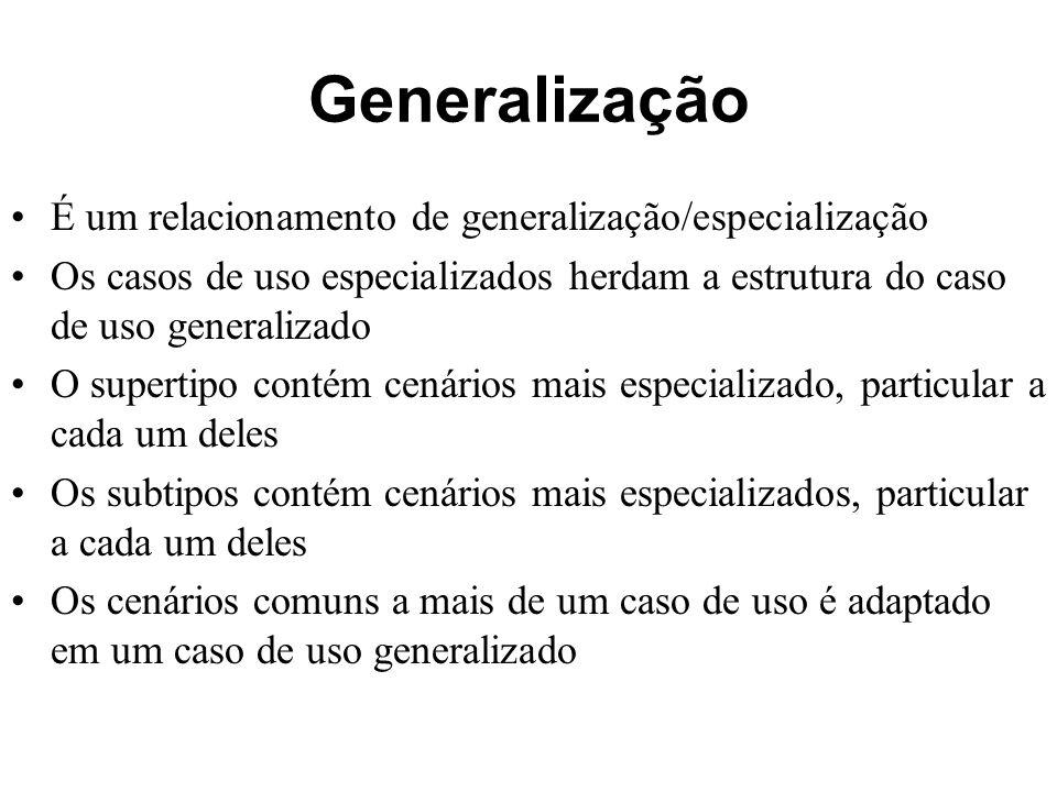 Generalização É um relacionamento de generalização/especialização Os casos de uso especializados herdam a estrutura do caso de uso generalizado O supe