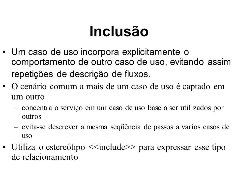 Inclusão Um caso de uso incorpora explicitamente o comportamento de outro caso de uso, evitando assim repetições de descrição de fluxos. O cenário com