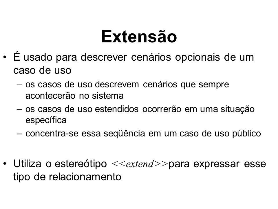 Extensão É usado para descrever cenários opcionais de um caso de uso –os casos de uso descrevem cenários que sempre acontecerão no sistema –os casos d
