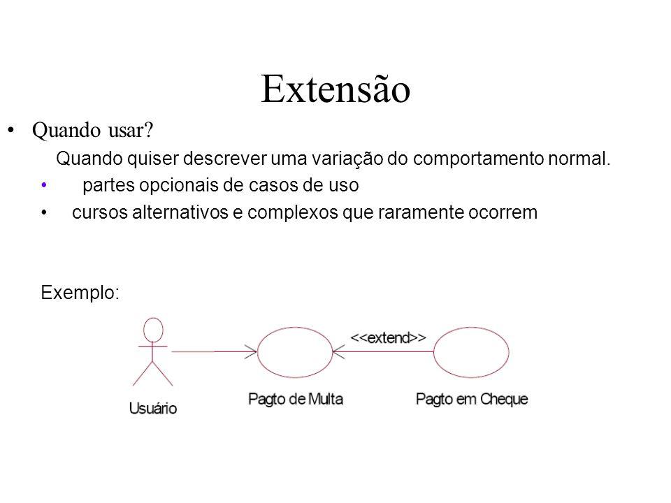 Extensão Quando usar? Quando quiser descrever uma variação do comportamento normal. partes opcionais de casos de uso cursos alternativos e complexos q