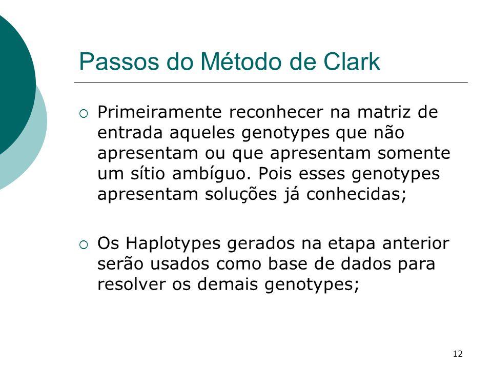 12 Passos do Método de Clark  Primeiramente reconhecer na matriz de entrada aqueles genotypes que não apresentam ou que apresentam somente um sítio ambíguo.