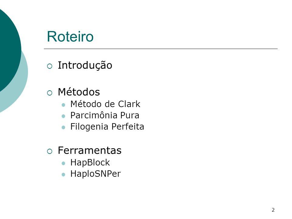 2 Roteiro  Introdução  Métodos Método de Clark Parcimônia Pura Filogenia Perfeita  Ferramentas HapBlock HaploSNPer
