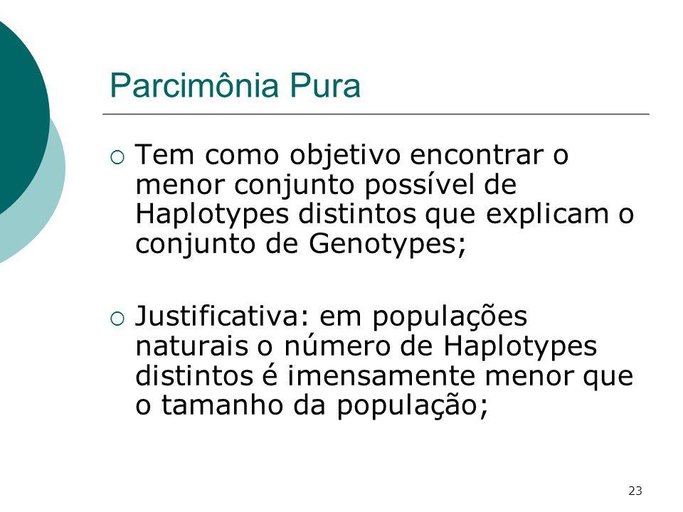 23 Parcimônia Pura  Tem como objetivo encontrar o menor conjunto possível de Haplotypes distintos que explicam o conjunto de Genotypes;  Justificativa: em populações naturais o número de Haplotypes distintos é imensamente menor que o tamanho da população;