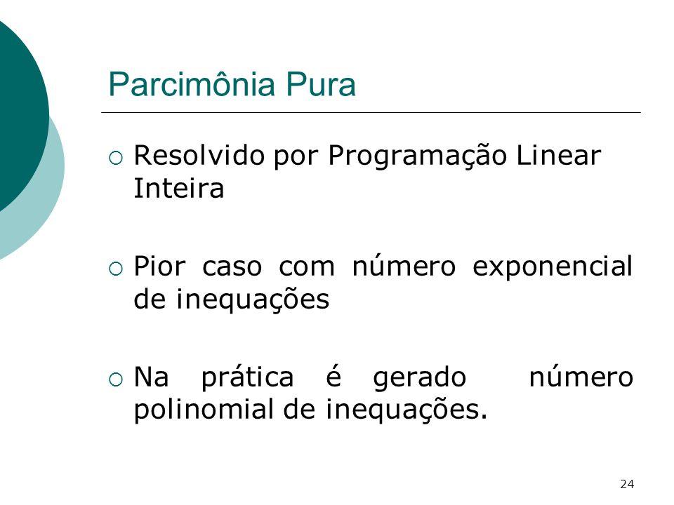 24 Parcimônia Pura  Resolvido por Programação Linear Inteira  Pior caso com número exponencial de inequações  Na prática é gerado número polinomial