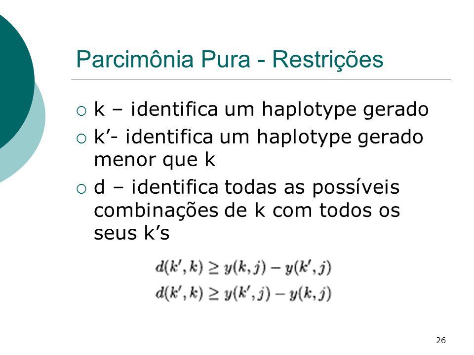 26 Parcimônia Pura - Restrições  k – identifica um haplotype gerado  k'- identifica um haplotype gerado menor que k  d – identifica todas as possíveis combinações de k com todos os seus k's